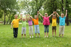 Group of children having fun together in the park