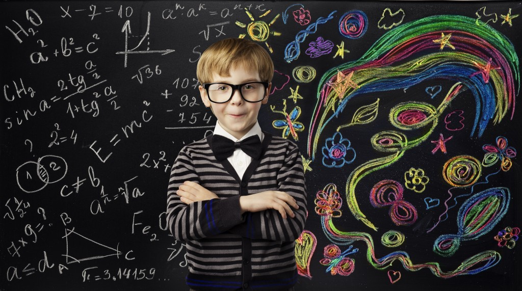 Kid Creativity Education Concept Child Learning Art Mathematics Formula School Boy Ideas on Black Chalk Board