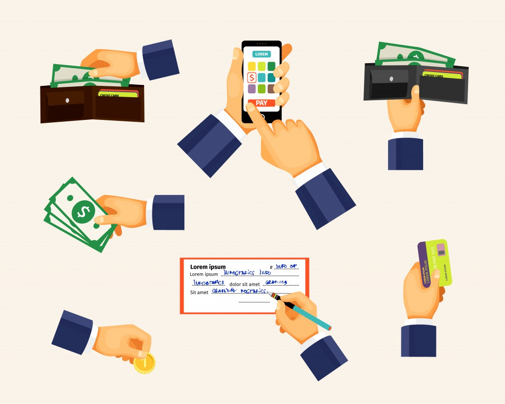 Payments icons in a flat style. Hands holding coin, credit card and cash money. Shopping and business, banking and buy, paying commercial, vector illustration