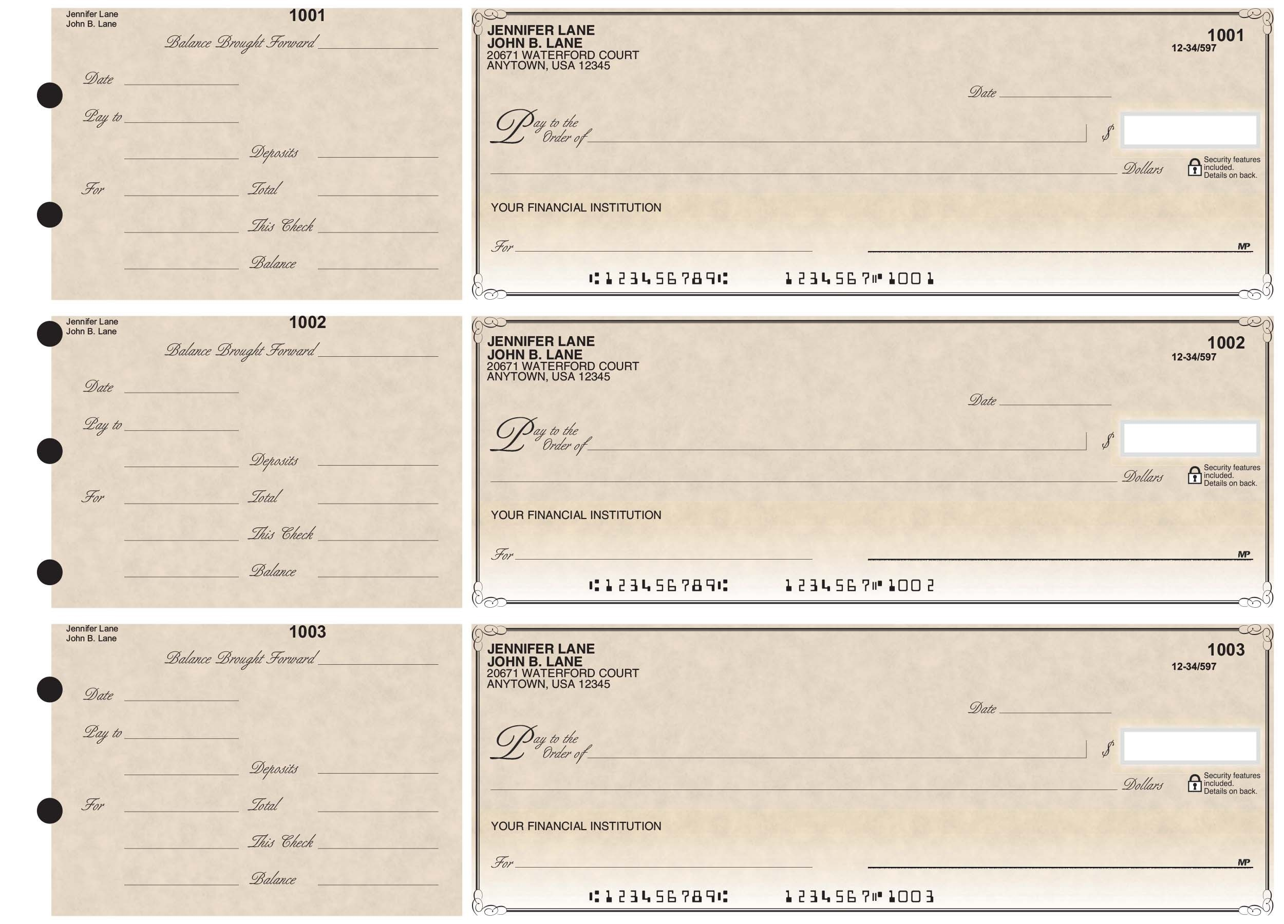 Antique - 3-on-a-Page Business Checks w/ General Purpose Stubs