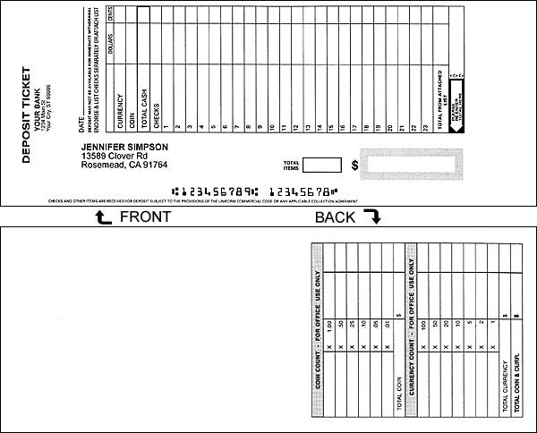 Business Deposit Slips - Padded 1 On A Page