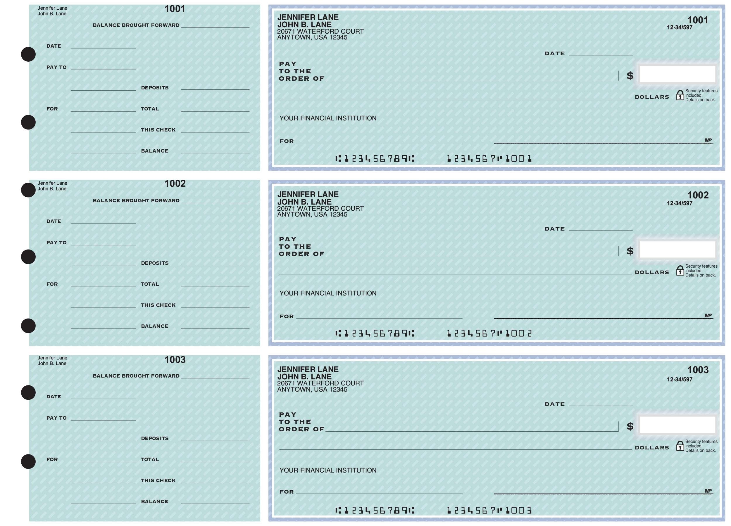 Neo-Classic - 3-on-a-Page Business Checks w/ General Purpose Stubs
