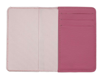 Pink Leather Debit Card Wallet w/Window