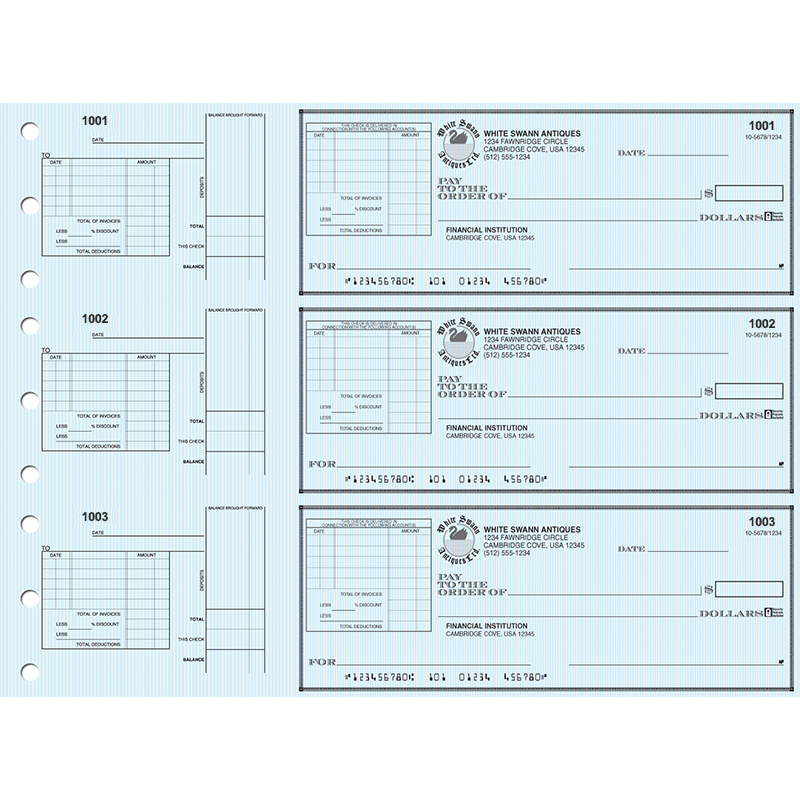 3 on-a-Page Business Checks - Safety Voucher with Deduction Stubs - Blue, Yellow, Green Draft Options