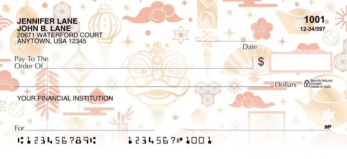 Happiness & prosperity red and gold personal checks