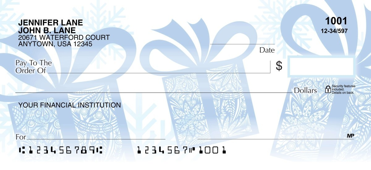 Blue wrapped gifts & snow personal check