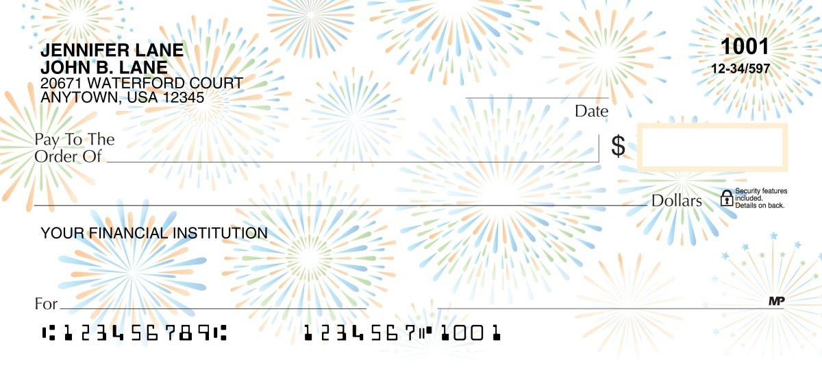 Celebrations in Blue and gold personal checks