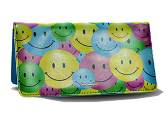 Be Happy! - Leather Personal Checkbook Cover