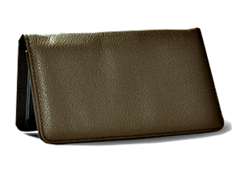 Brown - Leather Personal Checkbook Cover