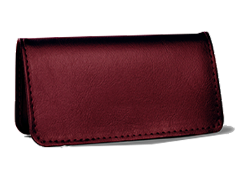 Burgundy - Leather Personal Checkbook Cover