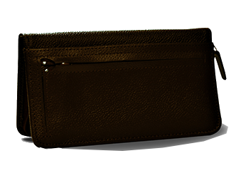 Cognac Brown - Leather Personal Checkbook Cover w/ Zipper