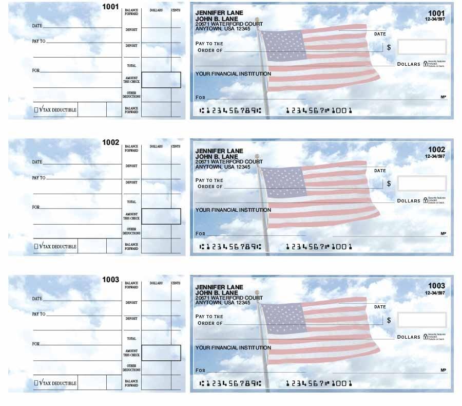 American Flag 3-Up Desk Checks