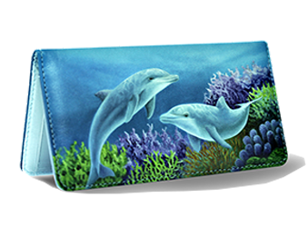 Dolphins - Leather Personal Checkbook Cover