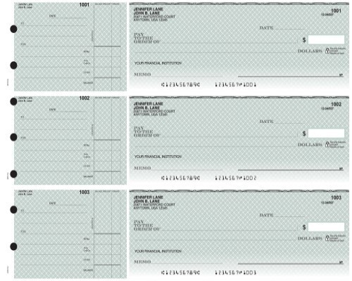 3-on-a-Page Safety Business Checks w/ Record-Keeping Stubs - Blue, Green, Yellow Draft Options