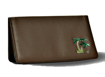 Island Green/Gold - Leather Personal Checkbook Cover
