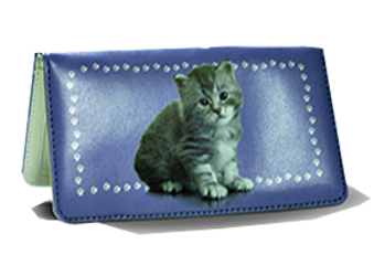 Kitten - Leather Personal Checkbook Cover