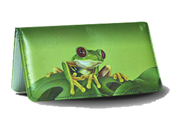 Large Frog - Leather Personal Checkbook Cover