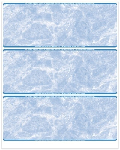 Marble - Blue 3-Up Business Laser Checks