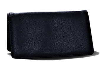 Navy - Leather Personal Checkbook Cover
