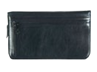 Onyx Black - Leather Personal Checkbook Cover w/ Zipper