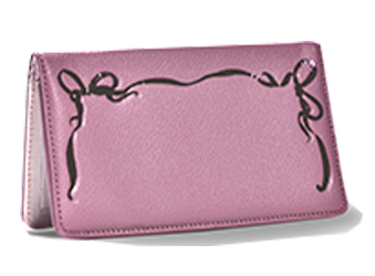Paris Pink 2 Bow - Leather Personal Checkbook Cover