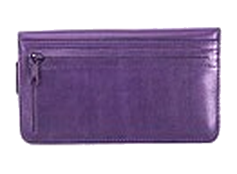 Passionate Purple - Leather Personal Checkbook Cover w/ Zipper
