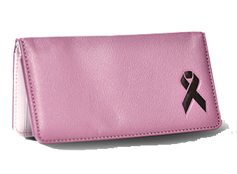 Pink Ribbon - Leather Personal Checkbook Cover