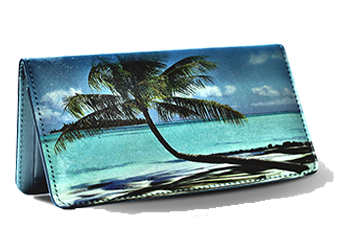 Pristine Beaches - Leather Personal Checkbook Cover