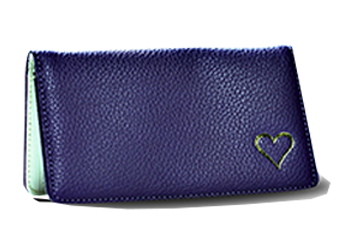 Heart - Purple - Leather Personal Checkbook Cover