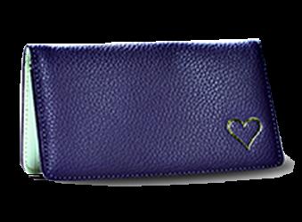 Heart - Purple - Leather Personal Checkbook Cover