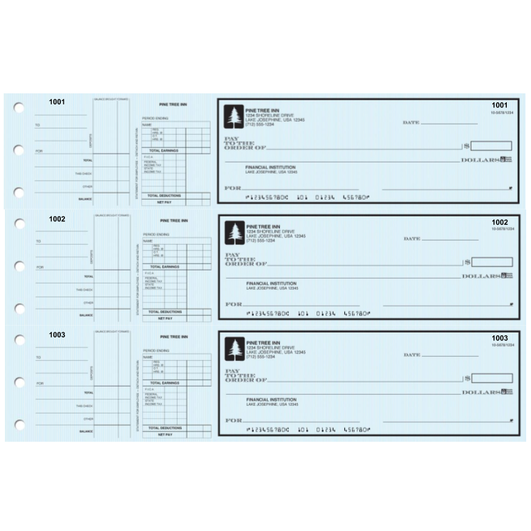 3-on-a-Page Safety Payroll Checks w/ Stubs