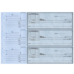 3 on-a-Page Business Checks - Safety Voucher with Record-Keeping Stubs - Blue, Green, Yellow Draft Options