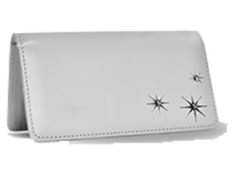 Sterling w/Rhinestones - Leather Personal Checkbook Cover