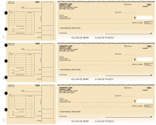 3-on-a-Page Safety Business Checks w/ Deduction Stubs - Blue, Green, Yellow Draft Options