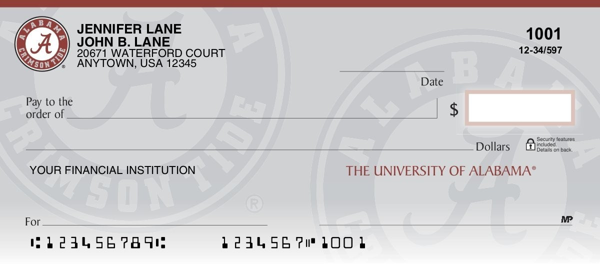 alabama crimson tide personal checks