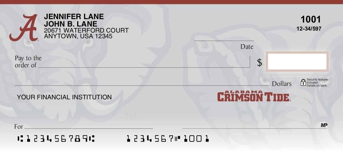 university of alabama personal checks