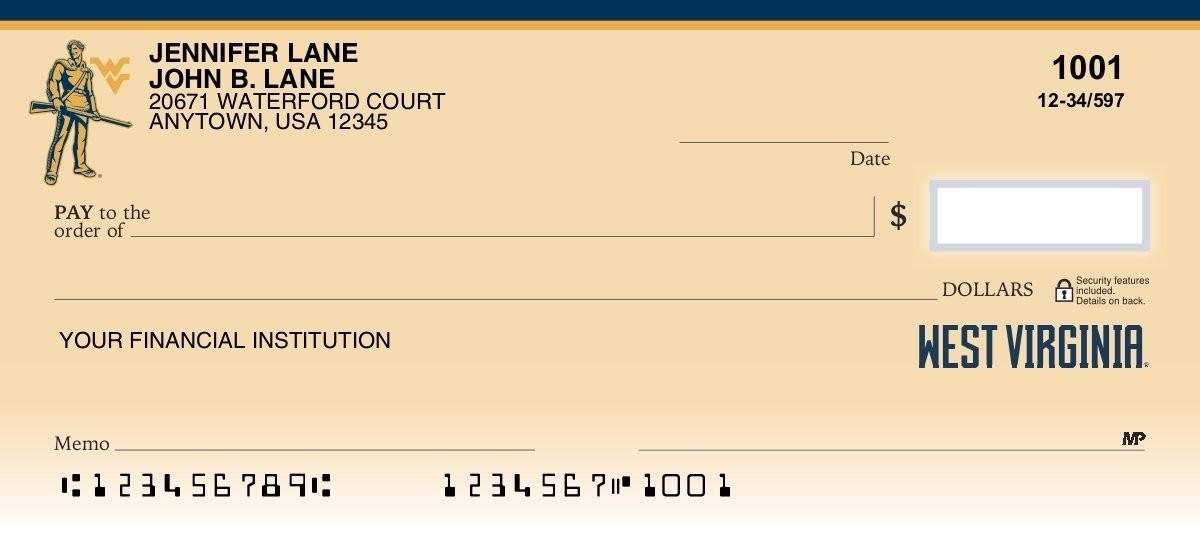 west virginia university personal checks