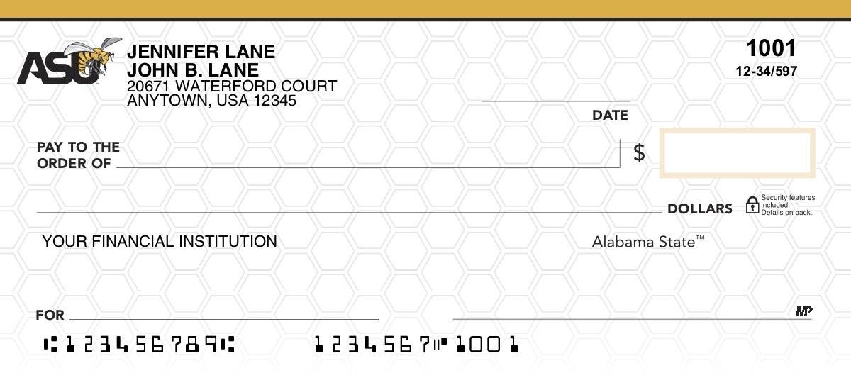 alabama state hornets personal checks