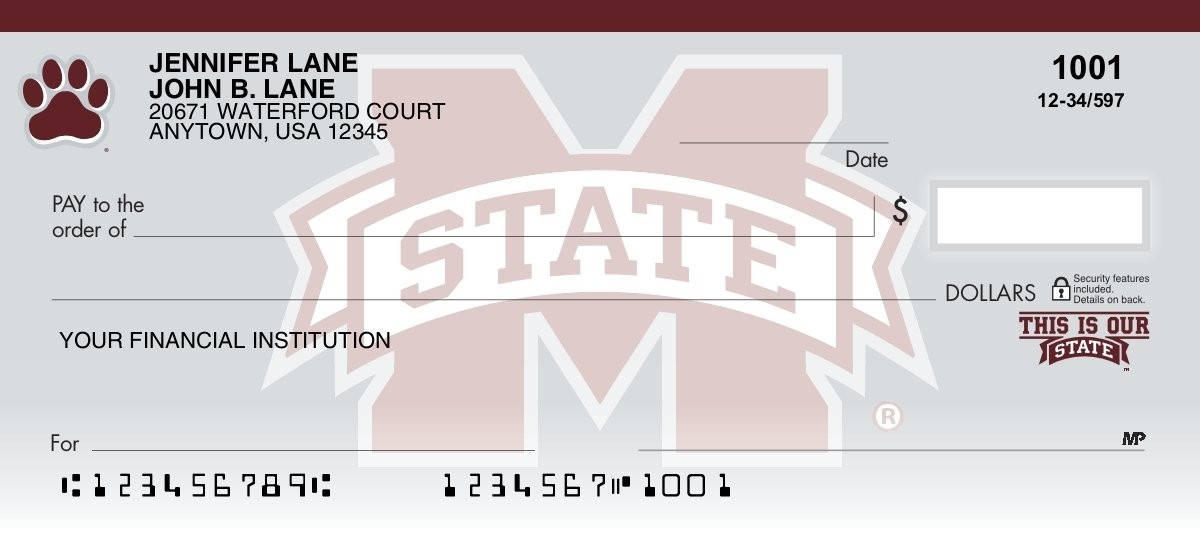 mississippi state university personal checks