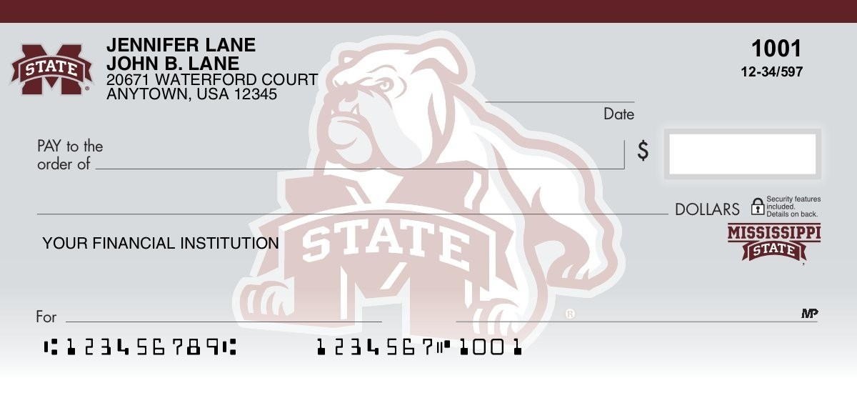 mississippie state bulldogs personal checks