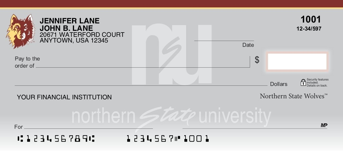 northern state wolves personal checks