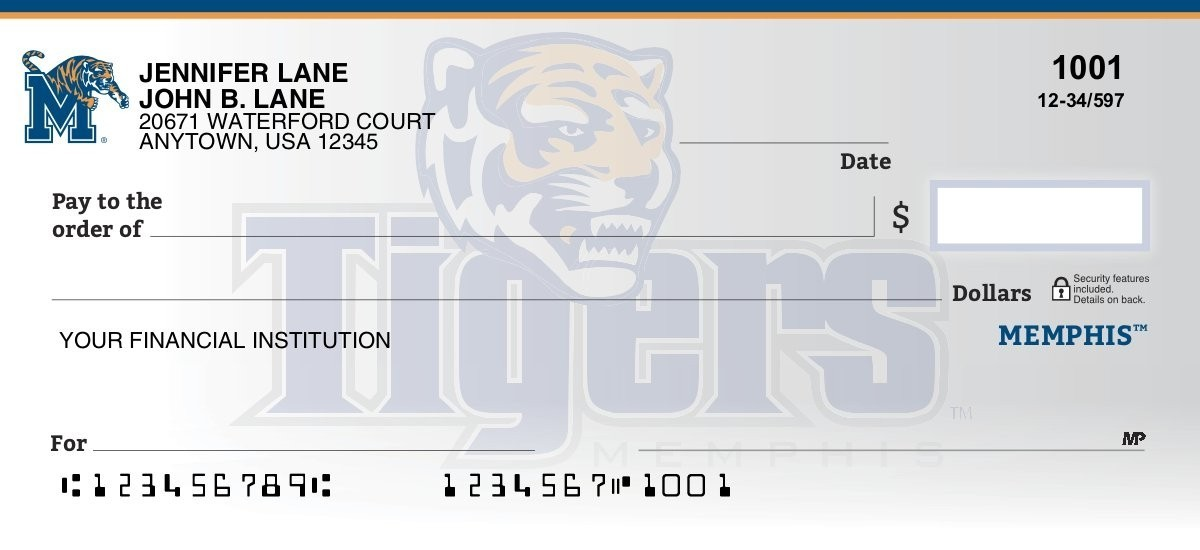 memphis tigers personal checks