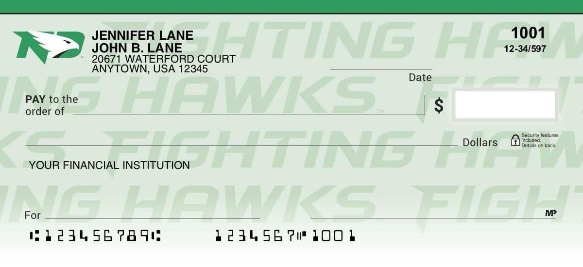 university of north dakota fighting hawks checks