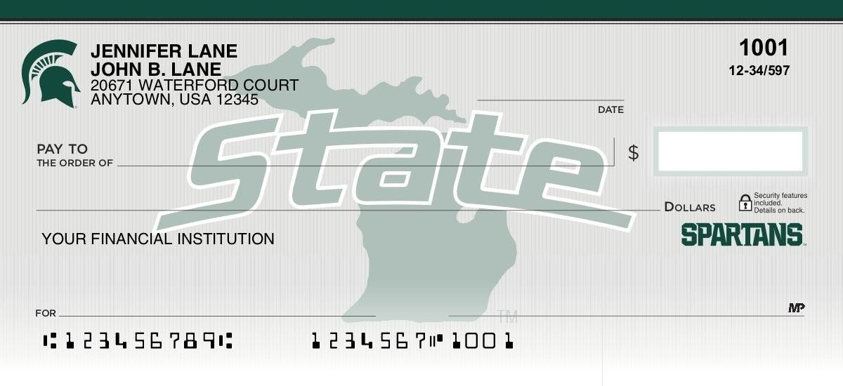 michigan state spartans personal checks