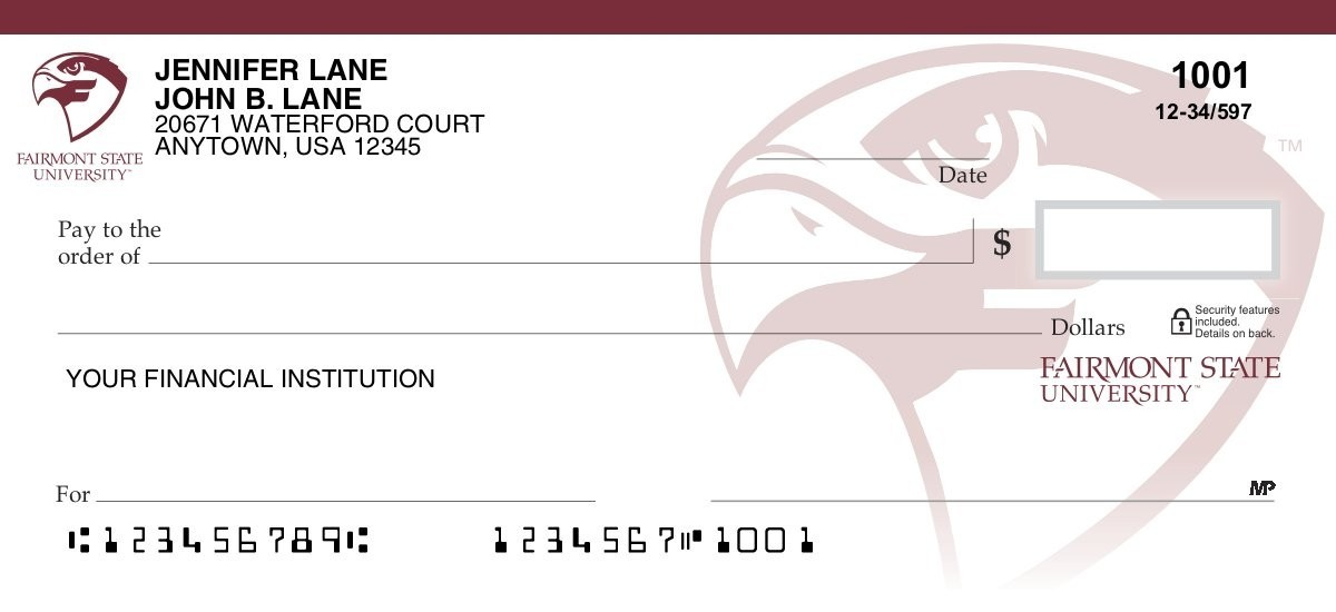 fairmont state university personal checks