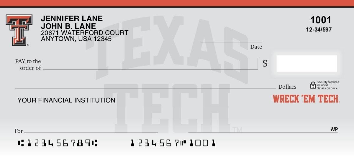 texas tech university personal checks