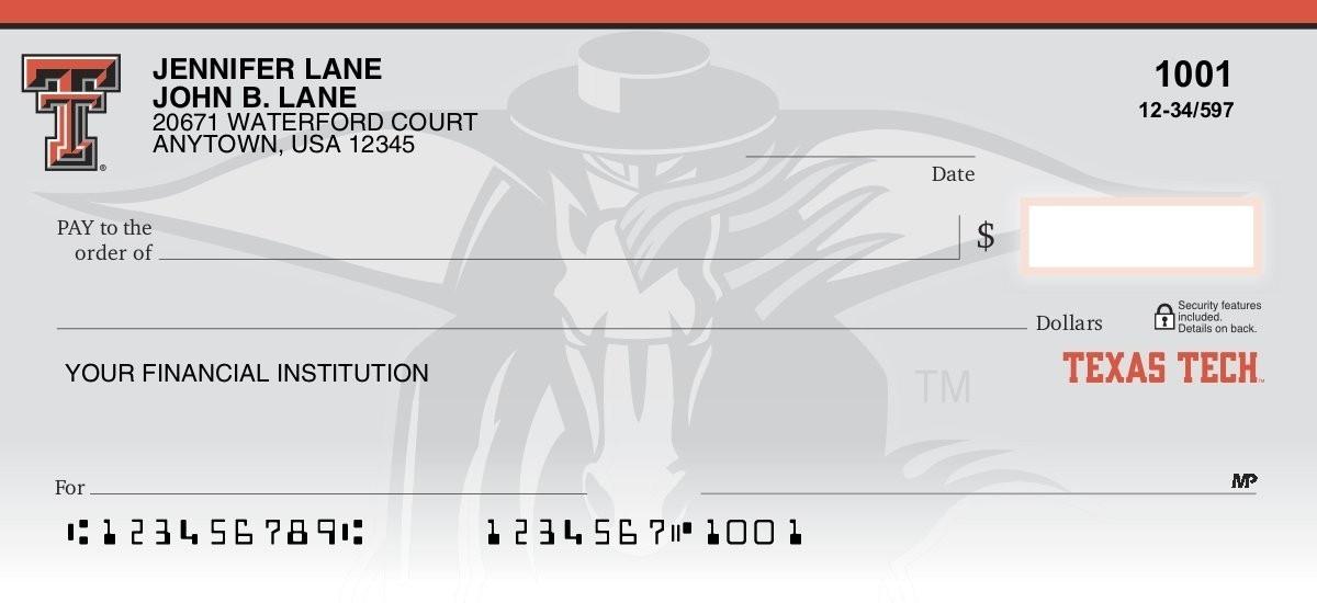 texas tech red raiders personal checks