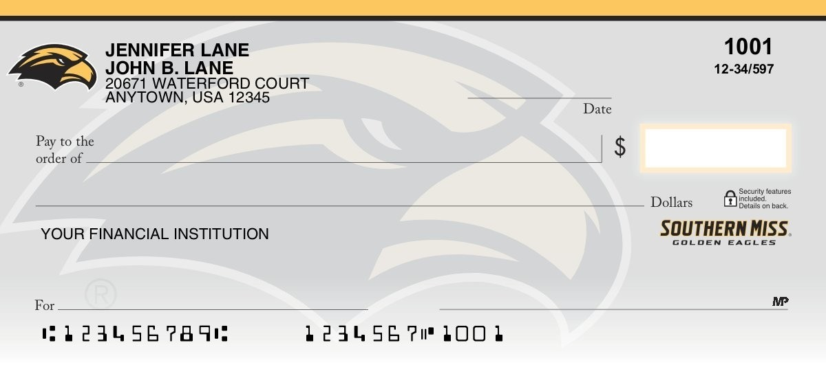 university of southern mississippi personal checks