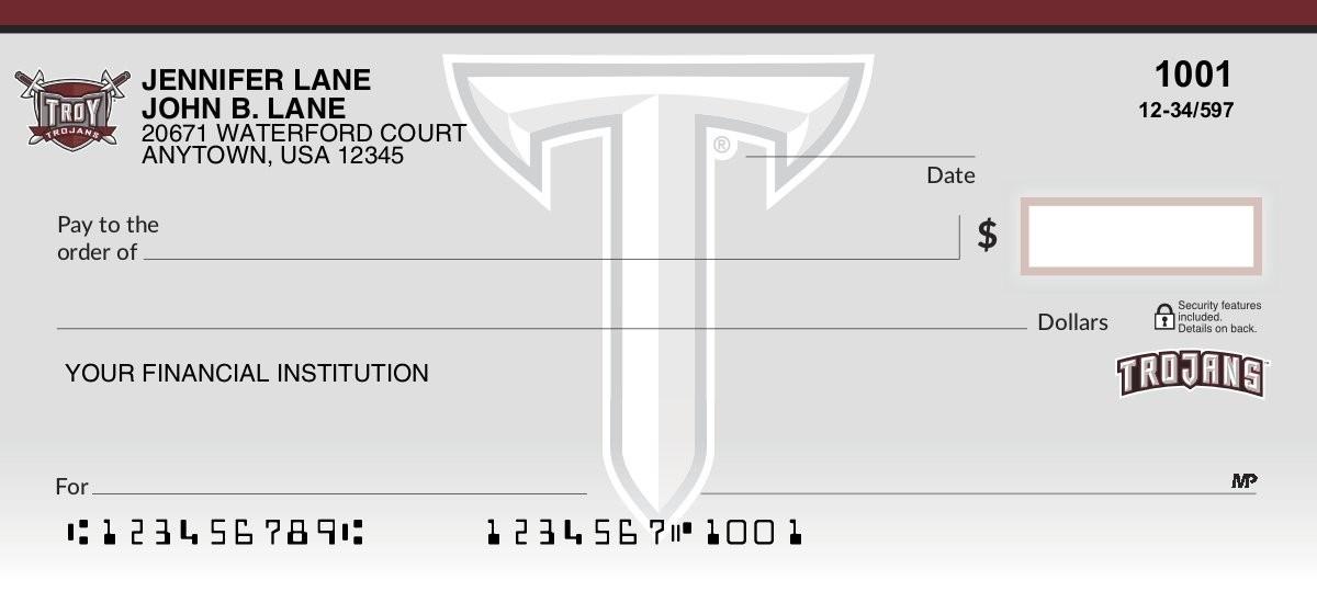 troy university trojans personal checks