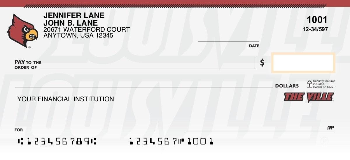 louisville cardinals personal checks